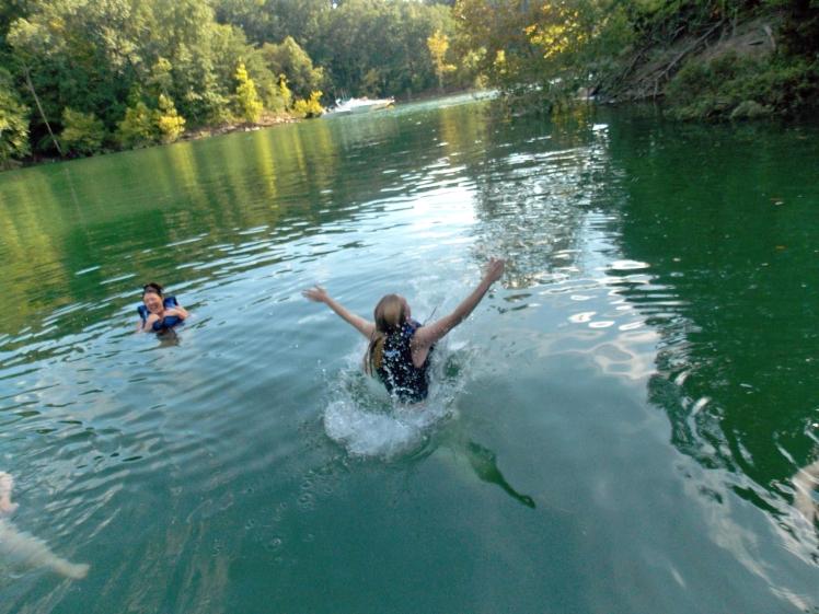 Splashing into the lake