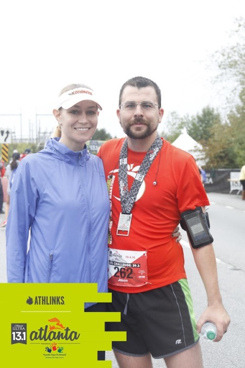We don't do everything together, and our marriage still works fine. He ran the Michelob Ultra 13.1 while I stayed at the finish line handing out food and drink.