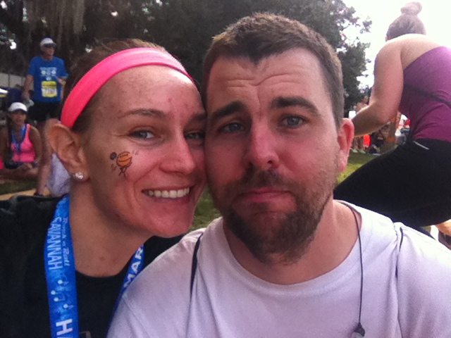 That frown on my husband's face is probably there because he just finished 20 miles.